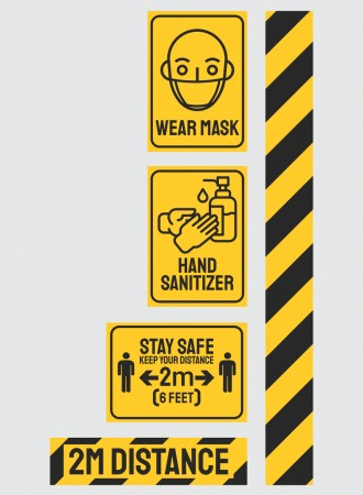 COVID-19 safety sign - Wear mask, Hand sanitizer