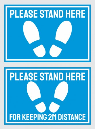Please stand here floor sign - blue
