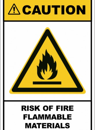 Risk of fire Flammable materials