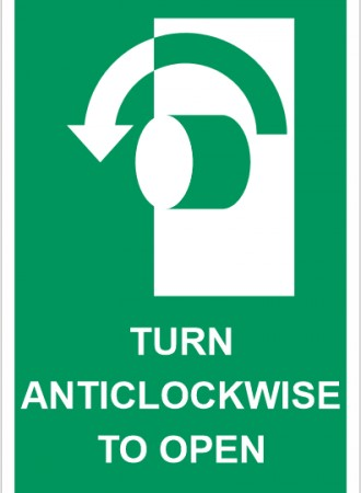 Turn anticlockwise to open sign