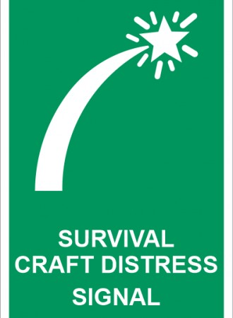 Survival craft distress signal sign
