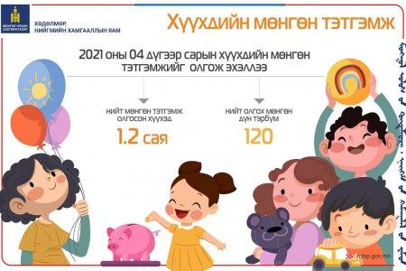 Хүүхдийн мөнгө олгож эхэлжээ