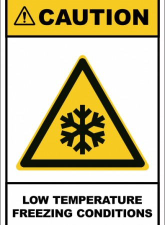 Low temperature freezing conditions sign