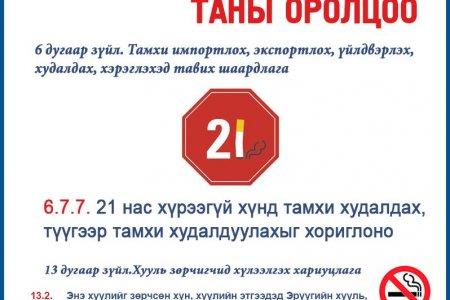 НЭМҮТ: Нас хүрээгүй хүнд тамхи худалдах, түгээр тамхи худалдаалуулахыг хориглоно