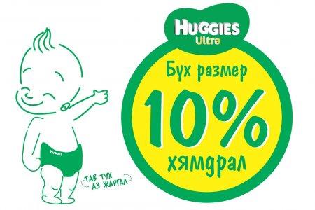 """""""HUGGIES ULTRA""""  Бүх размертаа 10%-ын  хямдрал зарлалаа"""