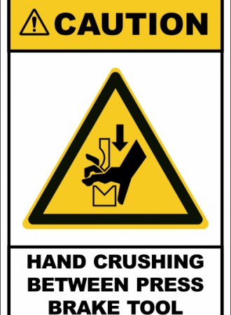 Hand crushing between press brake tool sign