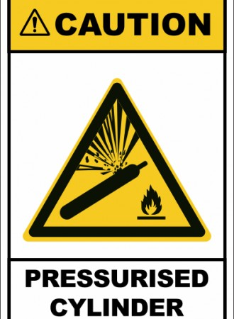 Pressurised cylinder sign