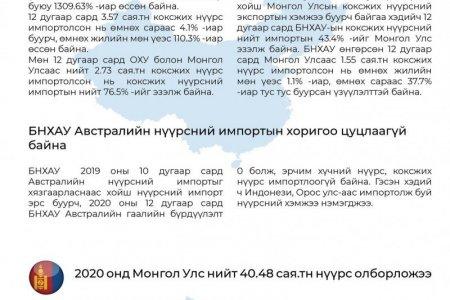 ЭТТ: Монгол Улс 2020 онд нийт 40.48 сая.тонн нүүрс олборложээ