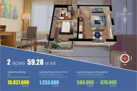 Комфорт хотхоны 59.28 м.кв бүхий 2 өрөө байрыг сонгох шалтгаан