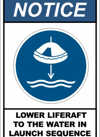Lower liferaft to the water in launch sequence sign