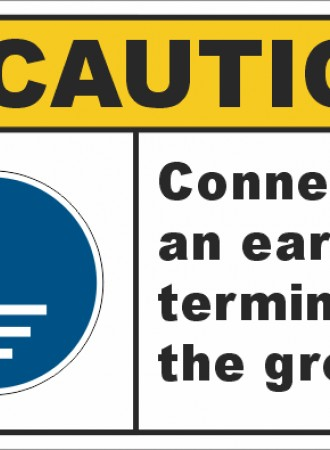 Connect an earth terminal to the ground sign