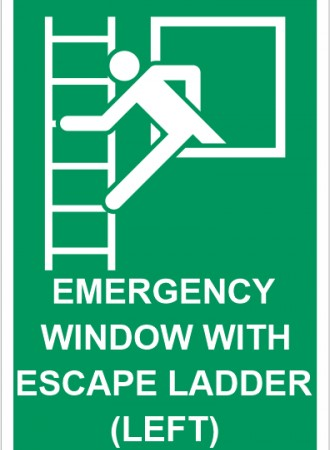 Emergency window with escape ladder (left) sign