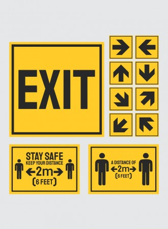 Floor sign exit, arrows and social distancing