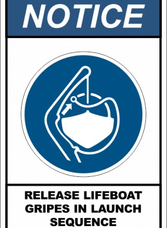 Release lifeboat gripes in launch sequence sign