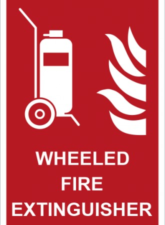 Wheeled fire extinguisher sign