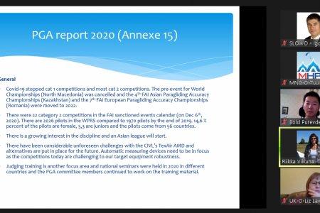 Дэлхийн агаарын спортын холбоо (FAI)-ны Ханглайдинг, параглайдингийн хороо (CIVL)-ны 2021 оны хуралдаанд МХПН оролцов