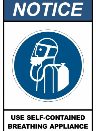 Use self-contained breathing appliance sign