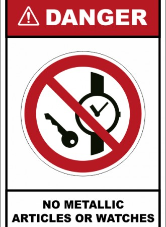 No metallic articles or watches sign