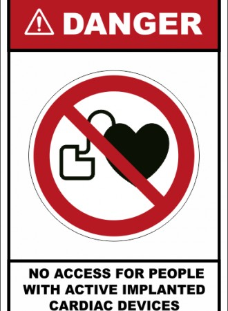 No access for people with active implanted cardiac devices sign