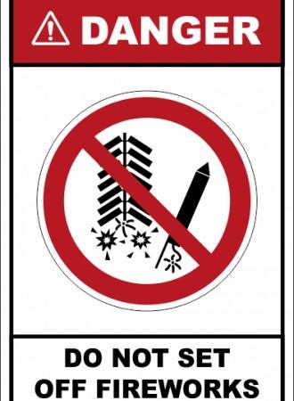 Do not set off fireworks sign