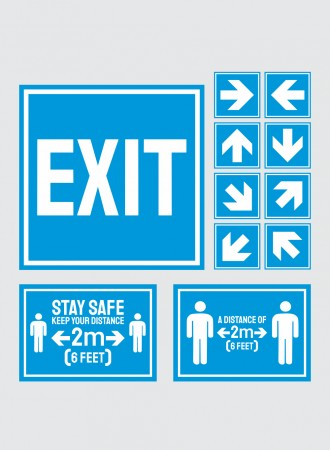 Floor sign exit, arrows and social distancing - blue