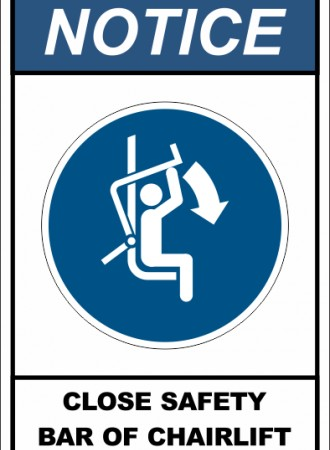 Close safety bar of chairlift sign