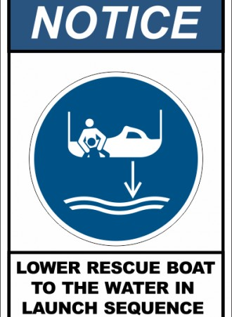 Lower rescue boat to the water in launch sequence sign