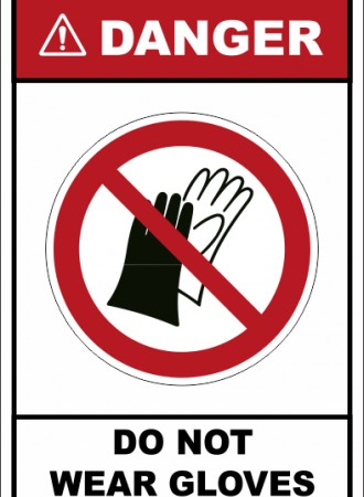 Do not wear gloves sign