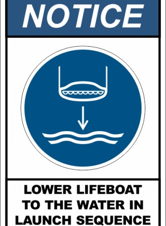 Lower lifeboat to the water in launch sequence sign
