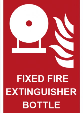 Fixed fire extinguisher bottle sign