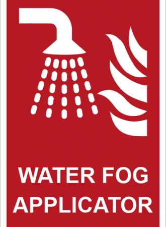 Water fog applicator sign