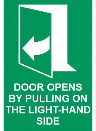 Door opens by pulling on the right-hand side sign