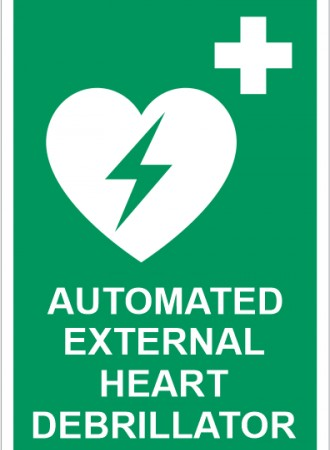 Automated external heart defibrillator sign