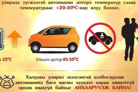 Сэрэмжлүүлэг: Бага насны хүүхдээ автомашинд хараа хяналтгүй орхиж болохгүй