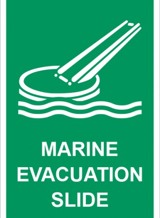 Marine evacuation slide sign