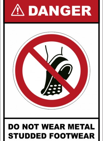 Do not wear metal studded footwear sign