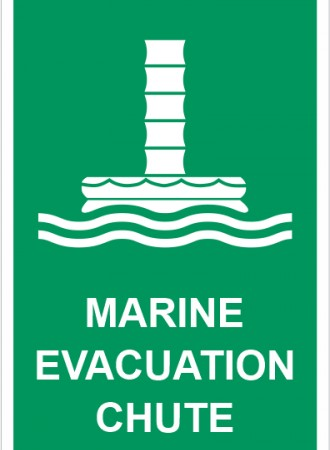 Marine evacuation chute sign