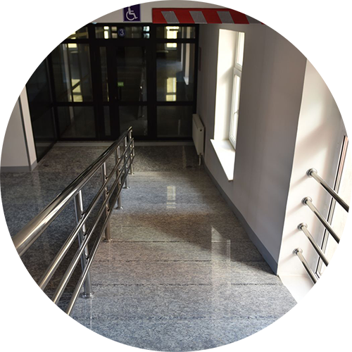 Safe and easily navigable surfaces (wheelchair accessible), with safe changes in transitions between school campus