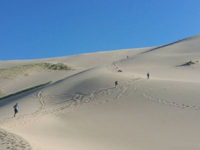 Hiking up to the tallest dune - The Duut mankhan - The singing dune
