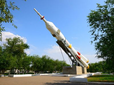 "Baikonur town - Model of the missile ""Soyuz"""