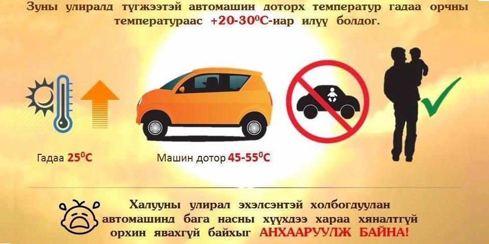 Бага насны хүүхдээ автомашинд хараа хяналтгүй орхиж болохгүй