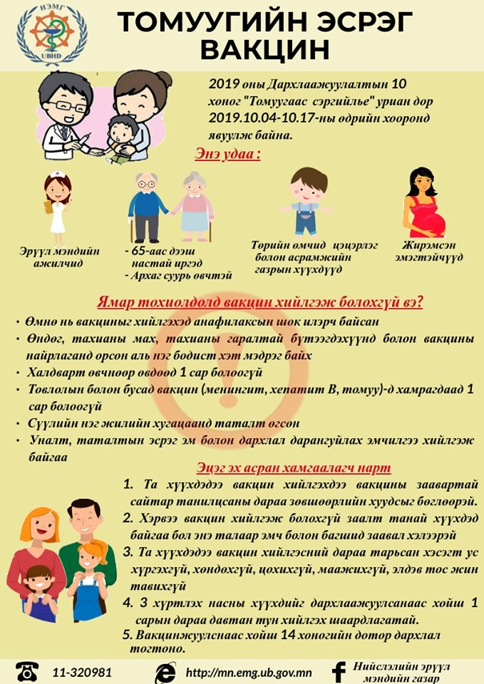 Улирлын томуугийн эсрэг вакциндаа хамрагдаарай