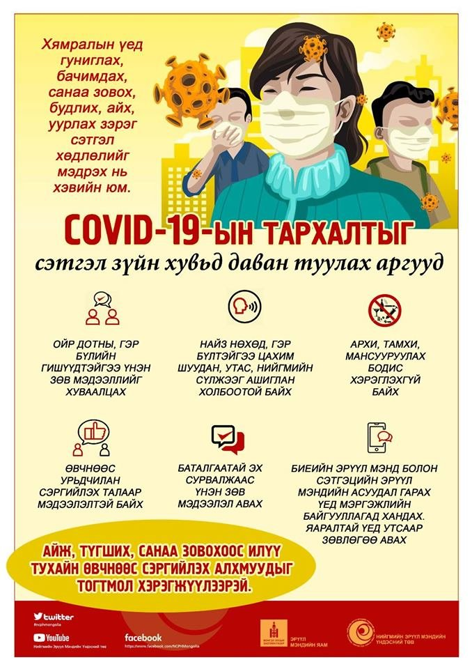 Коронавируст халдвар (COVID-19)-ын тархалтыг сэтгэлзүйн хувьд даван туулах аргууд