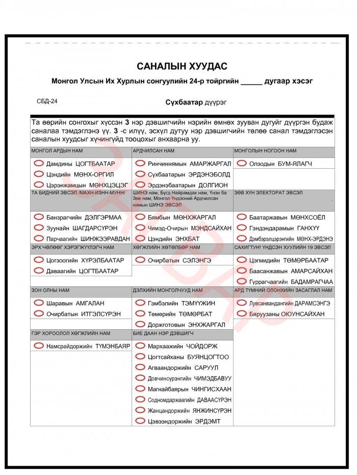 Сонгуулийн саналын хуудасны загвар бэлэн болжээ