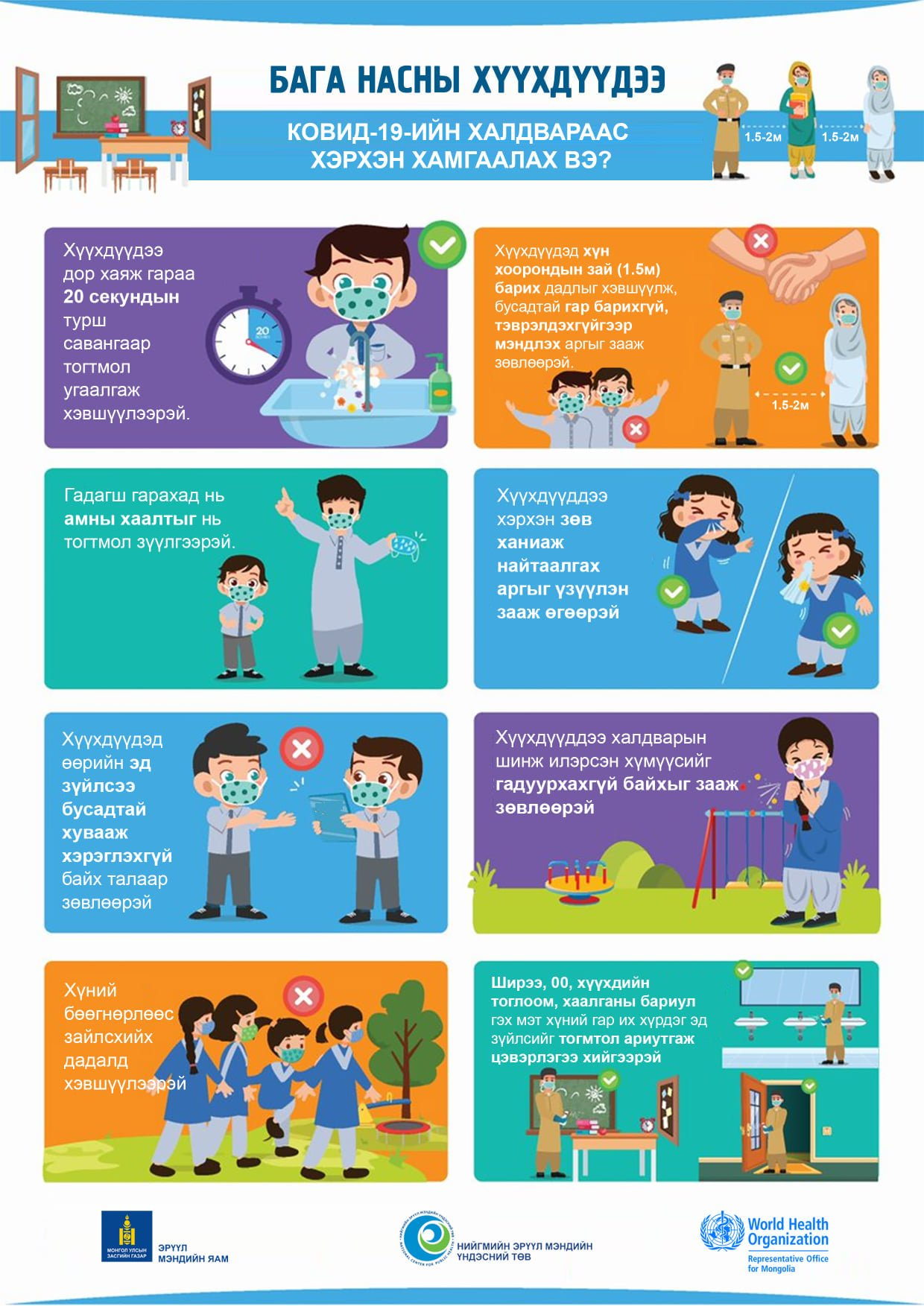 ЭМЯ: Бага насны хүүхдүүдээ Covid-19 халдвараас хэрхэн хамгаалах вэ?
